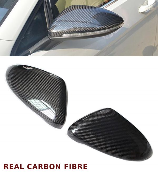 VW GOLF MK7 WING MIRROR COVER PAIR REAL CARBON FIBRE 2012-2017 OEM FIT