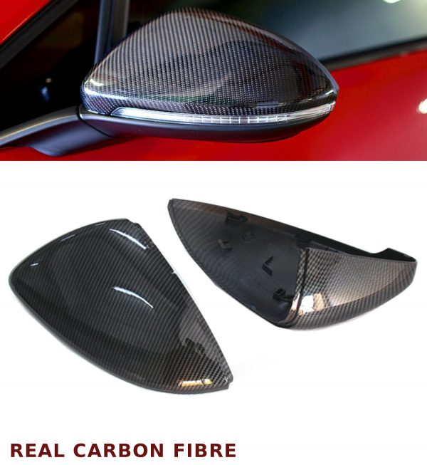 VW GOLF MK7 WING REPLACEMENT MIRROR COVER PAIR REAL CARBON FIBRE 12-17 OEM FIT