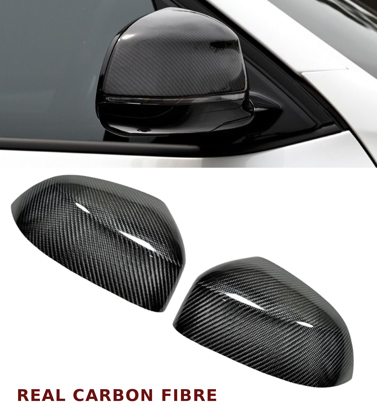 For BMW X5 X6 F15 F16 Replace M3 style Carbon Fiber SIDE Mirror Covers