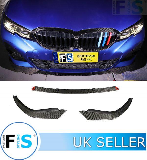BMW 3 SERIES G20 G21 3-PIECE M SPORT CARBON FIBRE FRONT LIP