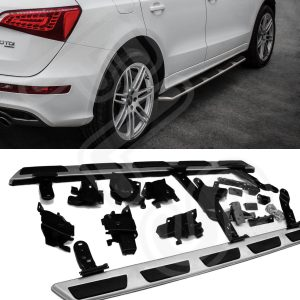 AUDI Q5 08-16 BRUSHED STEEL SIDE STEPS BARS BOARDS 100% OEM FIT FACTORY STYLE