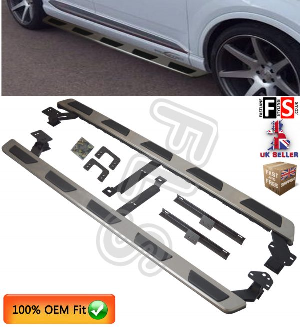 AUDI Q7 SIDE STEPS RUNNING BOARDS NEW SHAPE 2016 ON SIDE STEPS 100% OEM FIT