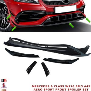 MERCEDES W176 A45 AMG FRONT LIP SPOILER SIDE APRONS AERO SPORT PACK GLOSS BLACK