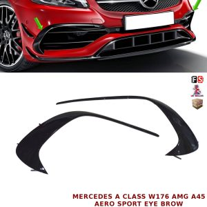 MERCEDES W176 A45 AMG FRONT EYE BROW AERO SPOILER FINS FLAPS BROWS GLOSS BLACK