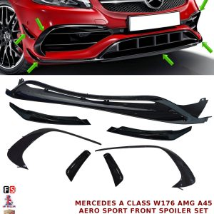 MERCEDES W176 A45 AMG FRONT LIP SPOILER SPORT PACK AERO FINS SIDE APRONS 2016+