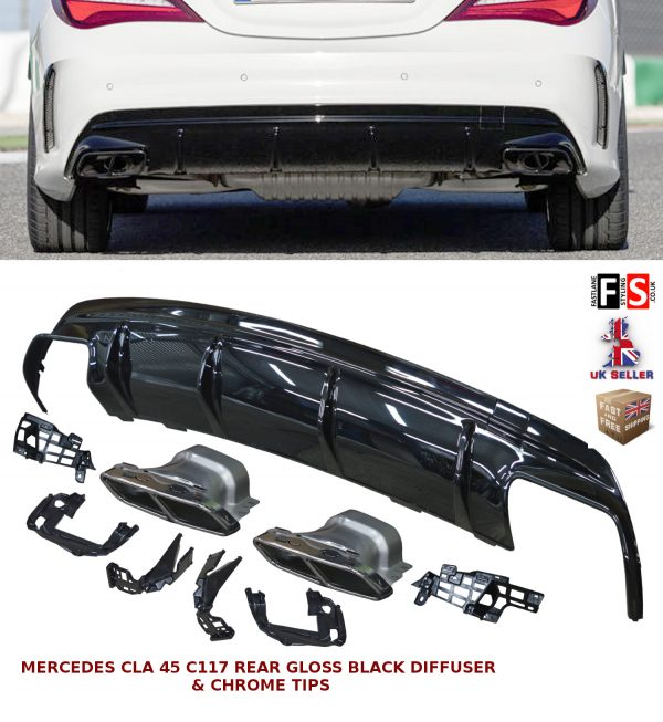 MERCEDES AMG CLA 45 STYLE W/C117 GLOSS BLACK REAR DIFFUSER TAILPIPES