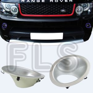 RANGE ROVER SPORT FOG LIGHT LAMP SURROUNDS COVERS BEZELS TRIMS SILVER 10-13