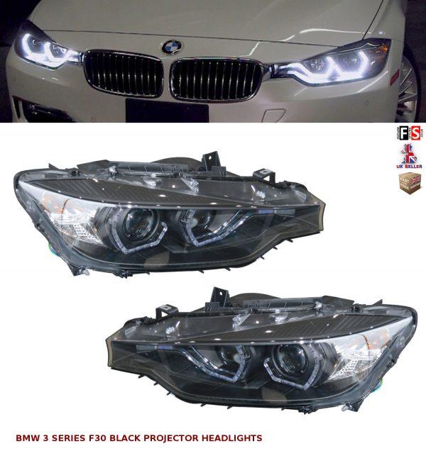 BMW 3 SERIES F30 F31 BLACK LED DRL PROJECTOR ANGEL EYES HEADLIGHTS