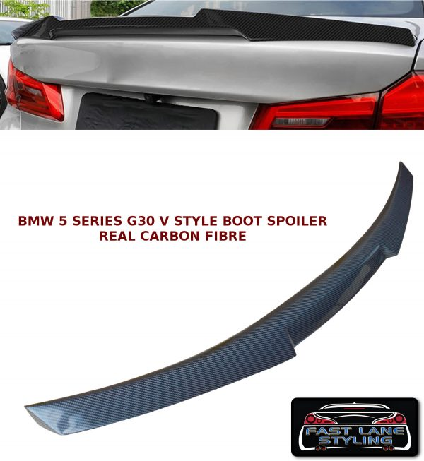 BMW 5 SERIES G30 M4 V STYLE REAR TRUNK BOOT LIP SPOILER CARBON FIBRE 2017+
