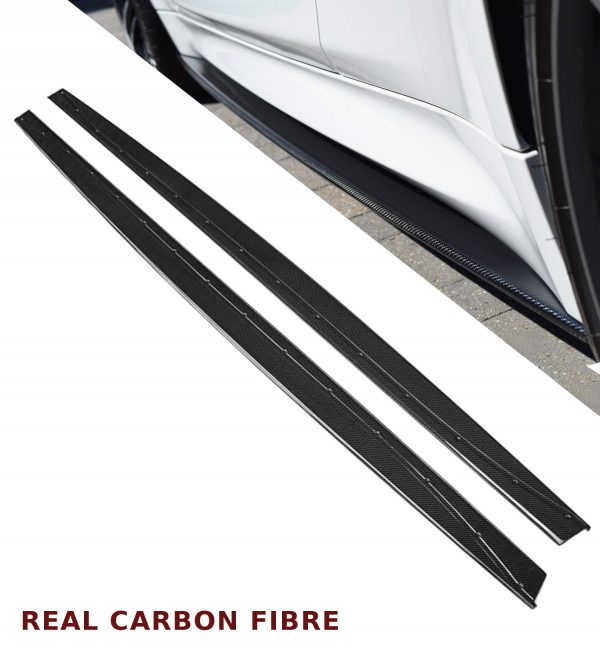 BMW 3 & 4 SERIES F80 F82 F83 M3 M4 SIDE SKIRT EXTENSION BLADES REAL CARBON FIBRE