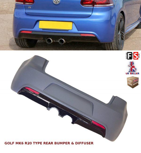 VW GOLF MK6 REAR BUMPER & DIFFUSER R20 TYPE