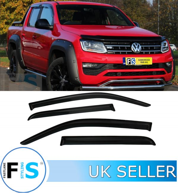 VW AMAROK 4 PIECES TINTED BLACK WIND DEFLECTORS