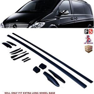 MERCEDES VITO VIANO W639 OEM STYLE ROOF RAIL BARS SET BLACK 03-14 EXTRA LONG