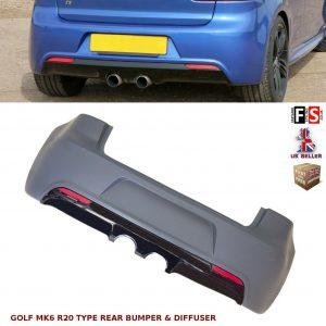 VW GOLF MK6 REAR BUMPER & DIFFUSER R20 TYPE BODY KITS