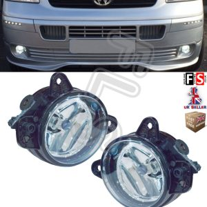 VW T5 TRANSPORTER CARAVELLE BUMPER FRONT FOG LIGHTS LAMPS PAIR 2003-2009
