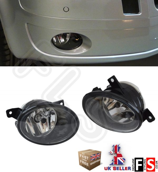 VW T5 TRANSPORTER CARAVELLE BUMPER FRONT FOG LIGHTS LAMPS PAIR 2009 UP