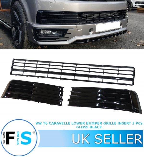 VW TRANSPORTER T6 LOWER BUMPER FRONT GRILLE 3 PCs