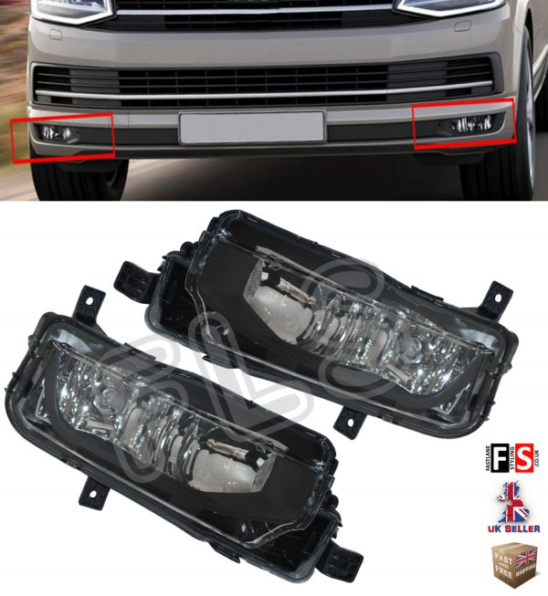 VW TRANSPORTER T6 FOG LIGHTS LAMPS PAIR OEM STYLE WITH BULBS 100% OEM FIT