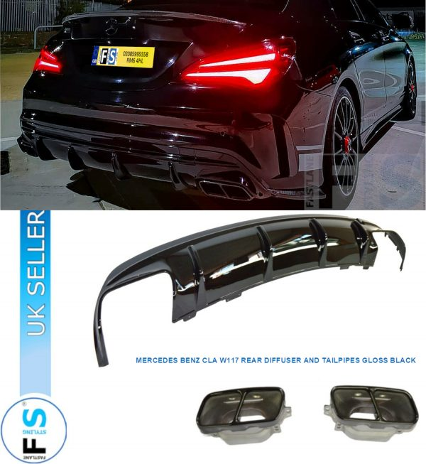 MERCEDES CLA C117 CLA45 LOOK REAR DIFFUSER & EXHAUST TAIL PIPES