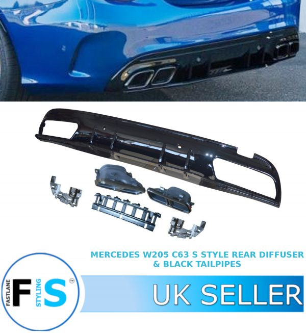 MERCEDES C CLASS W205 AMG C63 S STYLE REAR DIFFUSER + BLACK TAILPIPES