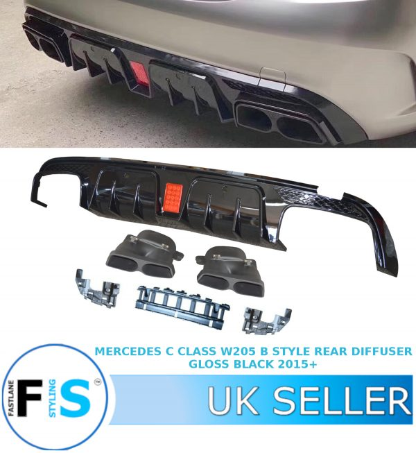 MERCEDES C CLASS W205 4D B STYLE REAR DIFFUSER WITH TAILPIPES