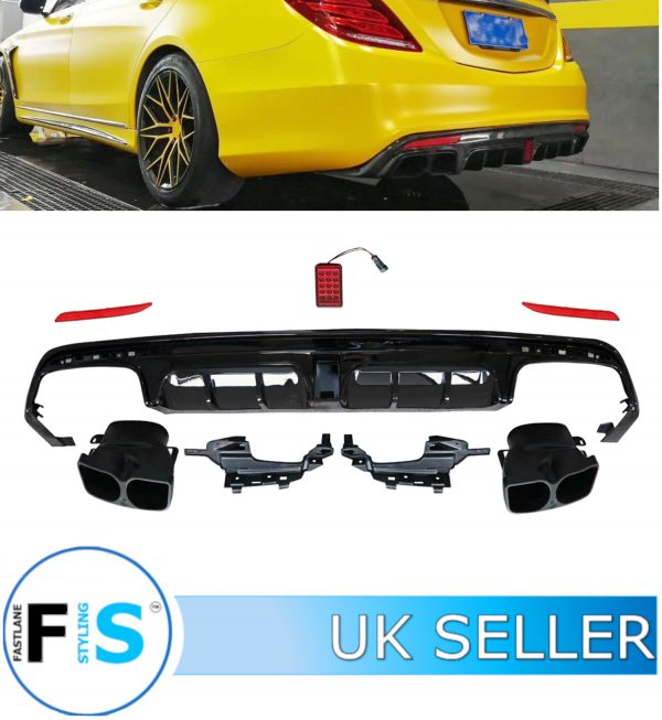 MERCEDES S CLASS S63 W222 B STYLE AMG REAR DIFFUSER TAILPIPE