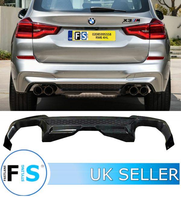 BMW X3 G01 X3M STYLE M-PERFORMANCE GLOSS BLACK REAR DIFFUSER