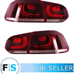 VW GOLF MK6 GTI GTD R20 09-13 SEQUENTIAL DYNAMIC REAR LIGHTS CLEAR