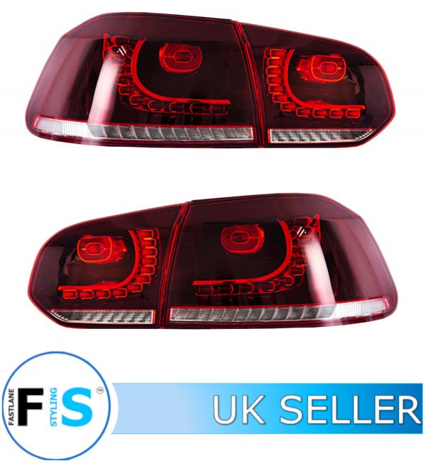 VW GOLF MK6 GTI GTD R20 09-13 SEQUENTIAL DYNAMIC REAR LIGHTS CLEAR