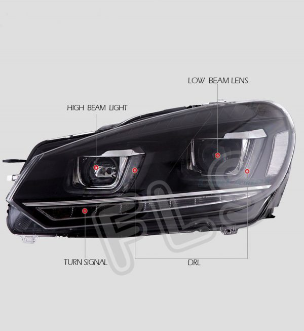 VW GOLF MK6 08-13 BLACK LED DRL FRONT RUNNING HEADLIGHTS LAMPS PAIR