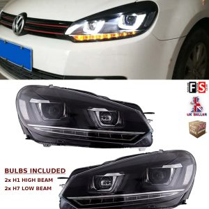 VW GOLF MK6 08-13 BLACK LED DRL FRONT RUNNING HEADLIGHTS LAMPS PAIR