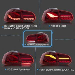 VW GOLF REAR TAIL LIGHT SET MK6 FULL LED SEQUENTIAL DYNAMIC