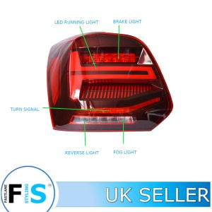 VW POLO 6R 6C TDI MK5 DYNAMIC LED TAIL LIGHTS CLEAR