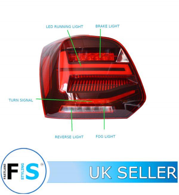VW POLO 6R 6C TDI MK5 DYNAMIC LED TAIL LIGHTS CLEAR