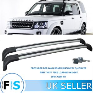 LAND ROVER DISCOVERY 3 & 4 ROOF RACK CROSS BARS ANTI THEFT SILVER