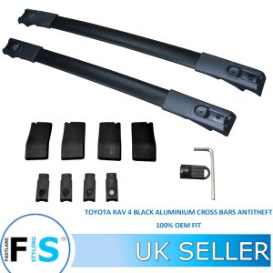 TOYOTA RAV 4 BLACK ALUMINIUM ROOF CROSS BARS RAILS ANTI THEFT