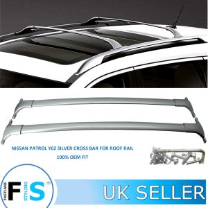 NISSAN PATROL SILVER CROSS BARS ROOF RAILS RACK