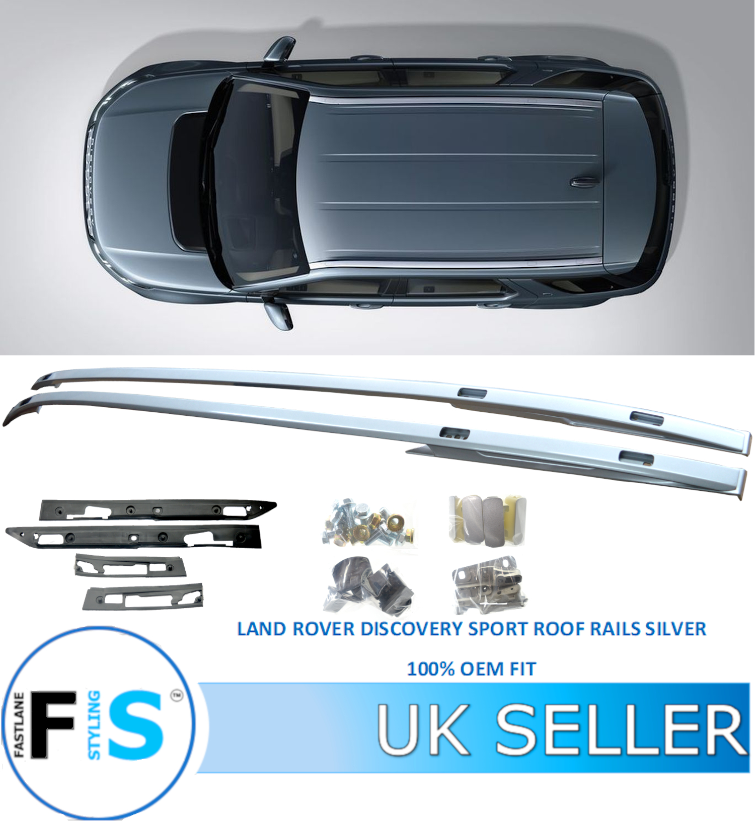 ROOF RAILS BARS RACK SILVER OEM FIT LAND ROVER DISCOVERY SPORT LC L550 2015