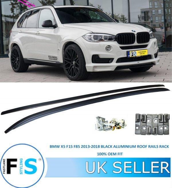 BMW X5 F15 F85 2013-2018 FLUSH BLACK ALUMINIUM ROOF RAILS