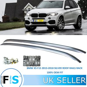 BMW X5 F15 F85 2013-2018 FLUSH SILVER ALUMINIUM ROOF RAILS