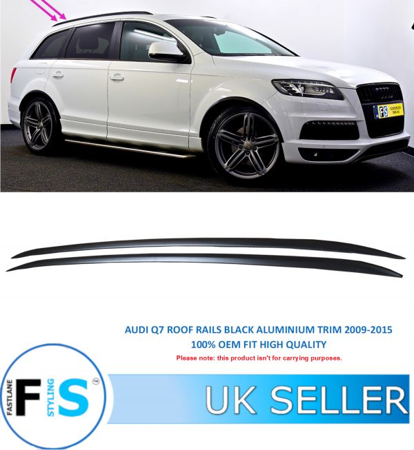 AUDI Q7 ROOF RAILS CROSS BARS ALUMINIUM GLOSS BLACK
