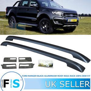 FORD RANGER ALUMINIUM ROOF RAILS BARS BLACK
