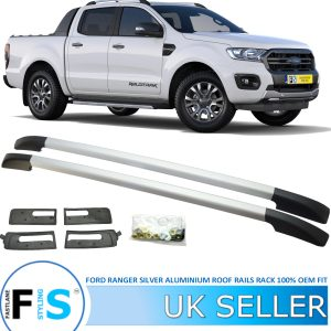 FORD RANGER ALUMINIUM ROOF RAILS BARS SILVER