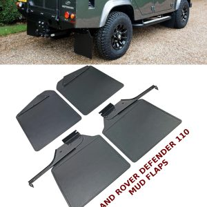 LAND ROVER DEFENDER 110 MUDFLAPS FRONT & REAR WITH BRACKETS 100% OEM FIT