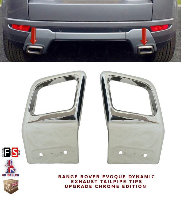 RANGE ROVER EVOQUE DYNAMIC EXHAUST TAILPIPE TIPS UPGRADE CHROME EDITION TAILPIPE